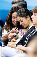 RIO DE JANEIRO Nicole Johnson, de vrouw van Michael Phelps van de Verenigde Staten, met hun zoon Boomer woont de Rio 2016 Olympische Spelen Zwemmen gebeurtenissen in Olympische Aquatics Stadion in Rio de Janeiro, Brazilië, 8 augustus 2016 COPYRIGHT ROBIN UTRECHT RIO DE JANEIRO Nicole Johnson, wife of Michael Phelps of the USA, with their son Boomer attends the Rio 2016 Olympic Games Swimming events at Olympic Aquatics Stadium in Rio de Janeiro, Brazil, 08 August 2016 COPYRIGHT ROBIN UTRECHT