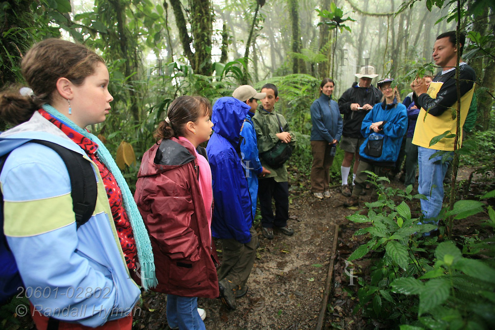 Ecoteach guide Alex Alvarez Rojas leads a nature hike in the cloud forest of Santa Elena National Park, Costa Rica.
