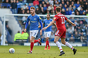 Portsmouth Midfielder, Tom Naylor (7) closed down by Accrington Stanley Midfielder, Sean McConville (11) during the EFL Sky Bet League 1 match between Portsmouth and Accrington Stanley at Fratton Park, Portsmouth, England on 4 May 2019.