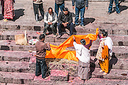 A Hindu funeral at Pashupatinath Temple, a Hindu temple located on the banks of the Bagmati River. Kathmandu, Nepal
