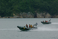 MILITARY/POLICE/COAST GUARD MANOUVERS IN TAKAHAMA BAY, JAPAN. 010702..PIC © JEREMY SUTTON-HIBBERT/GREENPEACE 2002..*****ALL RIGHTS RESERVED. RIGHTS FOR ONWARD TRANSMISSION OF ANY IMAGE OR FILE IS NOT GRANTED OR IMPLIED. CHANGING COPYRIGHT INFORMATION IS ILLEGAL AS SPECIFIED IN THE COPYRIGHT, DESIGN AND PATENTS ACT 1988. THE ARTIST HAS ASSERTED HIS MORAL RIGHTS. *******