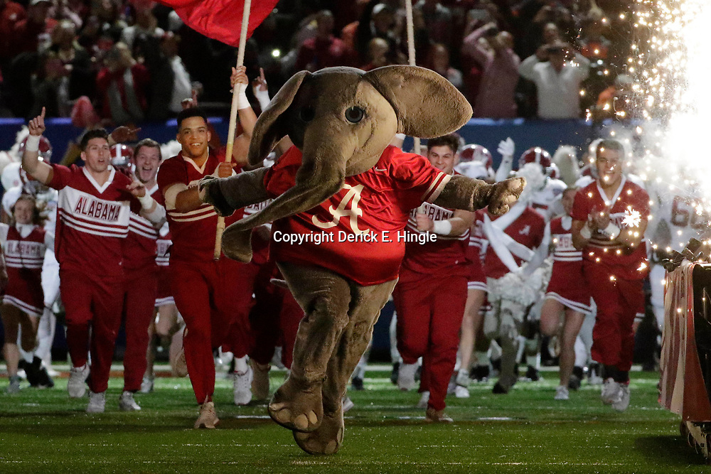 Jan 1, 2018; New Orleans, LA, USA; Alabama Crimson Tide mascot Big Al runs onto the field before the game between the Alabama Crimson Tide and the Clemson Tigers in the 2018 Sugar Bowl college football playoff semifinal game at Mercedes-Benz Superdome. Mandatory Credit: Derick E. Hingle-USA TODAY Sports