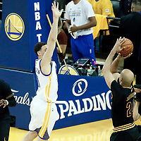 12 June 2017: Cleveland Cavaliers forward Richard Jefferson (24) takes a jump shot over Golden State Warriors guard Klay Thompson (11) during the Golden State Warriors 129-120 victory over the Cleveland Cavaliers, in game 5 of the 2017 NBA Finals, at the Oracle Arena, Oakland, California, USA.