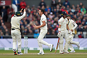 Wicket - Josh Hazlewood of Australia celebrates taking the wicket of Rory Burns of England during the International Test Match 2019, fourth test, day three match between England and Australia at Old Trafford, Manchester, England on 6 September 2019.