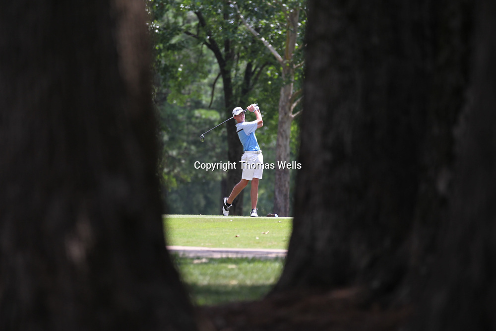 Kye Meeks of Walnut tees off on the ninth hole as Tupelo Country Club on Friday.
