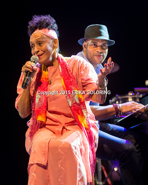 HAVANA, CUBA - DECEMBER 20:  (L-R) Buena Vista Social Club's Omara Portuondo and Roberto Fonseca perform during the 31st Havana Jazz Plaza International Festival 2015 at the Teatro Mella on December 20, 2015 in Havana, Cuba.  (Photo by Erika Goldring/Getty Images) *** Local Caption *** Omara Portuondo;Roberto Fonseca