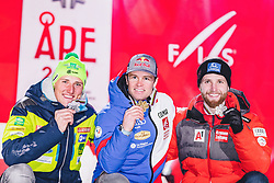 11.02.2019, Aare, SWE, FIS Weltmeisterschaften Ski Alpin, alpine Kombination, Herren, Siegerehrung, im Bild v.l.: Silbermedaillengewinner Stefan Hadalin (SLO), Weltmeister und Goldmedaillengewinner Alexis Pinturault (FRA), Bronzemedaillengewinner Marco Schwarz (AUT) // f.l.: Silver medalist Stefan Hadalin of Slovenia World champion and gold medalist Alexis Pinturault of France Bronze medalist Marco Schwarz of Austria during the winner ceremony of the men's alpine combination for the FIS Ski World Championships 2019. Aare, Sweden on 2019/02/11. EXPA Pictures © 2019, PhotoCredit: EXPA/ Dominik Angerer