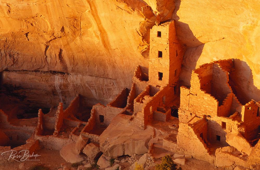 Evening light on Square Tower House Ruins, Mesa Verde National Park, Colorado USA
