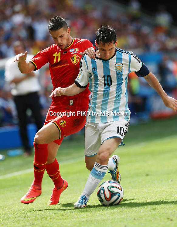 Fifa Soccer World Cup - Brazil 2014 - <br /> ARGENTINA (ARG) Vs. BELGIUM (BEL) - Quarter-finals - Estadio Nacional Brasilia -- Brazil (BRA) - 05 July 2014 <br /> Here Belgium player Kevin MIRALLAS (L) and Argentine player Lionel Messi (R)<br /> &copy; PikoPress