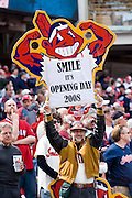 A fan shows his enthusiasm for Opening Day at Progressive Field on Monday, March 31, 2008.
