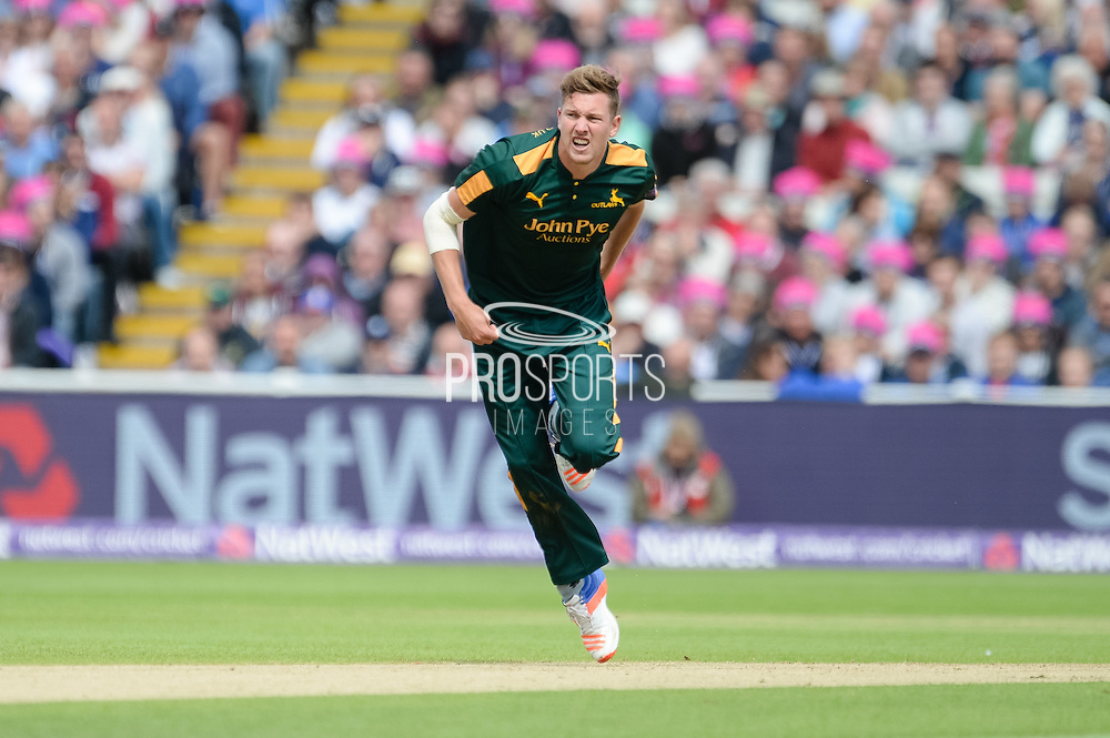 Jake Ball bowling during the NatWest T20 Blast Semi Final match between Nottinghamshire County Cricket Club and Northamptonshire County Cricket Club at Edgbaston, Birmingham, United Kingdom on 20 August 2016. Photo by David Vokes.