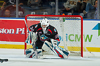 KELOWNA, CANADA - OCTOBER 3:  Roman Basran #30 of the Kelowna Rockets defends the net against the Vancouver Giants on October 3, 2018 at Prospera Place in Kelowna, British Columbia, Canada.  (Photo by Marissa Baecker/Shoot the Breeze)  *** Local Caption ***