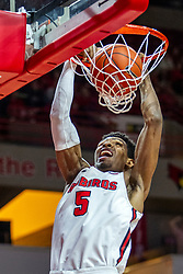 NORMAL, IL - November 10: Keith Fisher III mixes the jam during a college basketball game between the ISU Redbirds and the Little Rock Trojans on November 10 2019 at Redbird Arena in Normal, IL. (Photo by Alan Look)