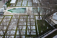 Algae filled hotel swimming pool, Tashkent, Uzbekistan.<br /> Picture date: Wednesday March 14, 2018.<br /> Photograph by Christopher Ison &copy;<br /> 07544044177<br /> chris@christopherison.com<br /> www.christopherison.com