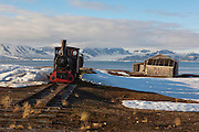 Old steam engine used for transporting coal at Ny Alesund, Svalbard. Ny Alesund is no longer a mining town, but an international scientfic research base. The engine is a 2, 900mm gauge Borsig 0-4-0T. It's numbered 7095 from 1909.