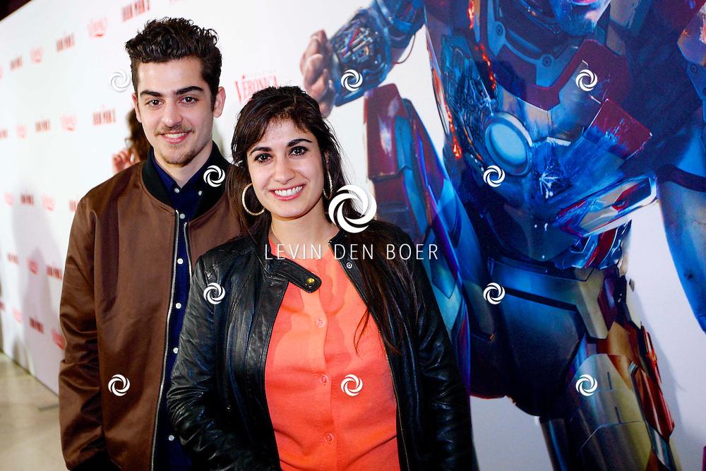AMSTERDAM - In het Rai theater is de filmpremiere van Iron Man 3. Met op de foto  Marius Gottlieb met partner Fatma Genc. FOTO LEVIN DEN BOER - PERSFOTO.NU