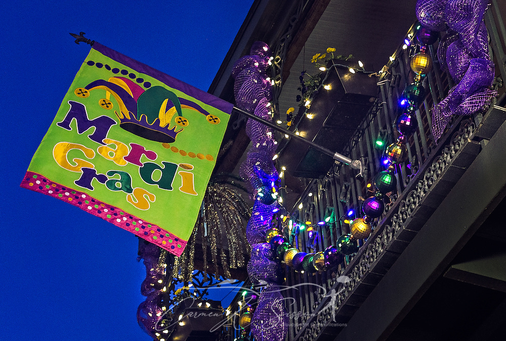 A balcony is decorated for Mardi Gras, January 14, 2017, on Dauphin Street in downtown Mobile, Alabama. Mobile considers itself the home of the nation's first Mardi Gras, dating back to 1703. The official colors of Mardi Gras are green, purple, and gold, representing faith, justice, and power. (Photo by Carmen K. Sisson/Cloudybright)
