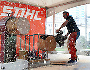 Seven time World Timbersports Champion Jason Wynyard attempts a World Hot Saw record. Stihl Chainsaw Awareness Week, Aotea Square, Auckland, Monday 14 April 2008. Photo: Renee McKay/PHOTOSPORT