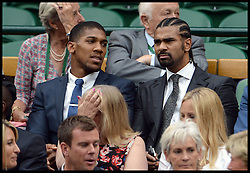 Image ©Licensed to i-Images Picture Agency. 28/06/2014, Wimbledon, London, United Kingdom.  David Haye (right) and Anthony Joshua and  in the Royal box on Day 6 of the Wimbledon Tennis Championship. Picture by Andrew Parsons / i-Images