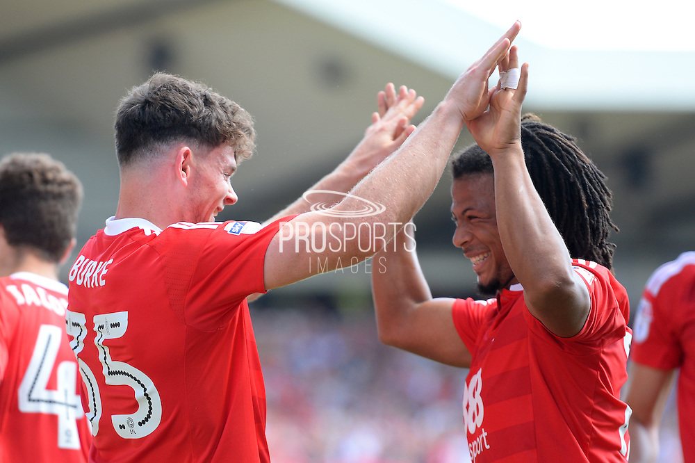 Nottingham Forest midfielder Oliver Burke (35) and `Nottingham Forest midfielder Hildeberto Pereira (17) during the EFL Sky Bet Championship match between Nottingham Forest and Burton Albion at the City Ground, Nottingham, England on 6 August 2016. Photo by Jon Hobley.