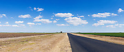 Rural road next  green early crop  field under blue sky with cumulus clouds near Jimbour Queensland, Australia <br />