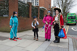 © Licensed to London News Pictures. 10/03/2020. London, UK. Ultra-Orthodox Jewish children wear costumes to celebrate the Jewish Purim holiday in the Stamford Hill area of north London.The festival involves the reading of the Book of Esther, describing the defeat of Haman, the Persian king's adviser, who plotted to massacre the Jewish people 2,500 years ago, an event that was prevented by Esther's courage. The festival of Purim is celebrated every year on the 14th of the Hebrew month of Adar in the Jewish calendar has just begin..  Photo credit: Marcin Nowak/LNP