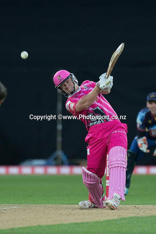 Scott Kuggeleijn of the Knights bats during the Georgie Pie Super Smash Volts v Knights cricket match at the Westpac Stadium in Wellington on Sunday the 23rd of November 2014. Photo by Marty Melville/www.Photosport.co.nz