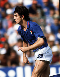 Paolo Rossi in action for Italy against Brazil during the World Cup in Spain, 1982.