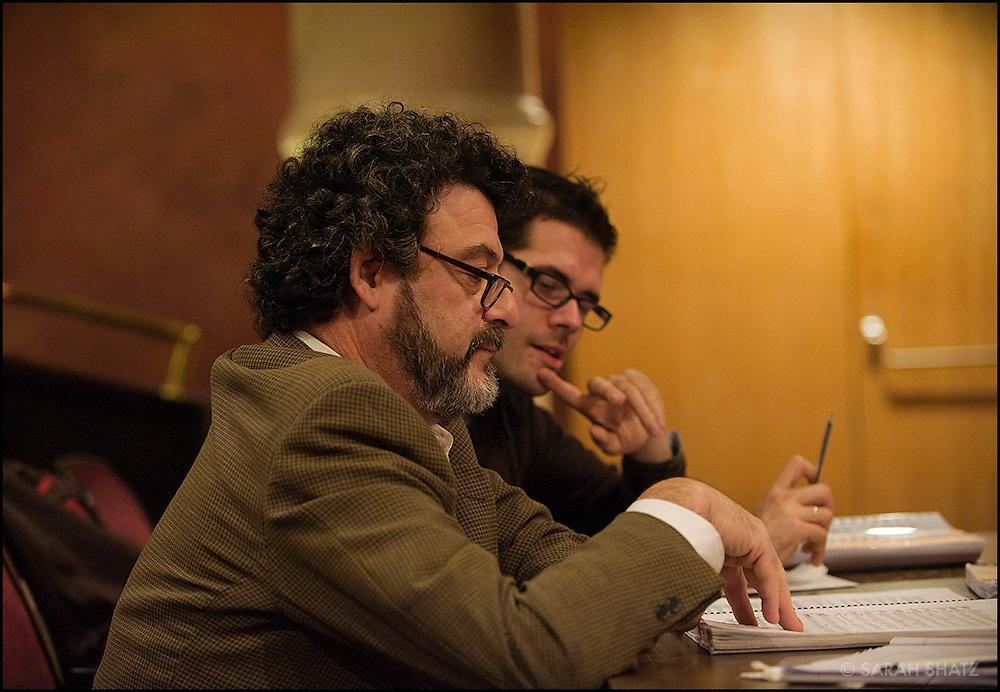 """Composers Tobias Picker and Francesco Cilluffo at the rehearsal for Cilluffo's """"Il Caso Mortara"""" at the Dicapo Opera Theater. Picker is the Artistic Advisor at the Dicapo."""
