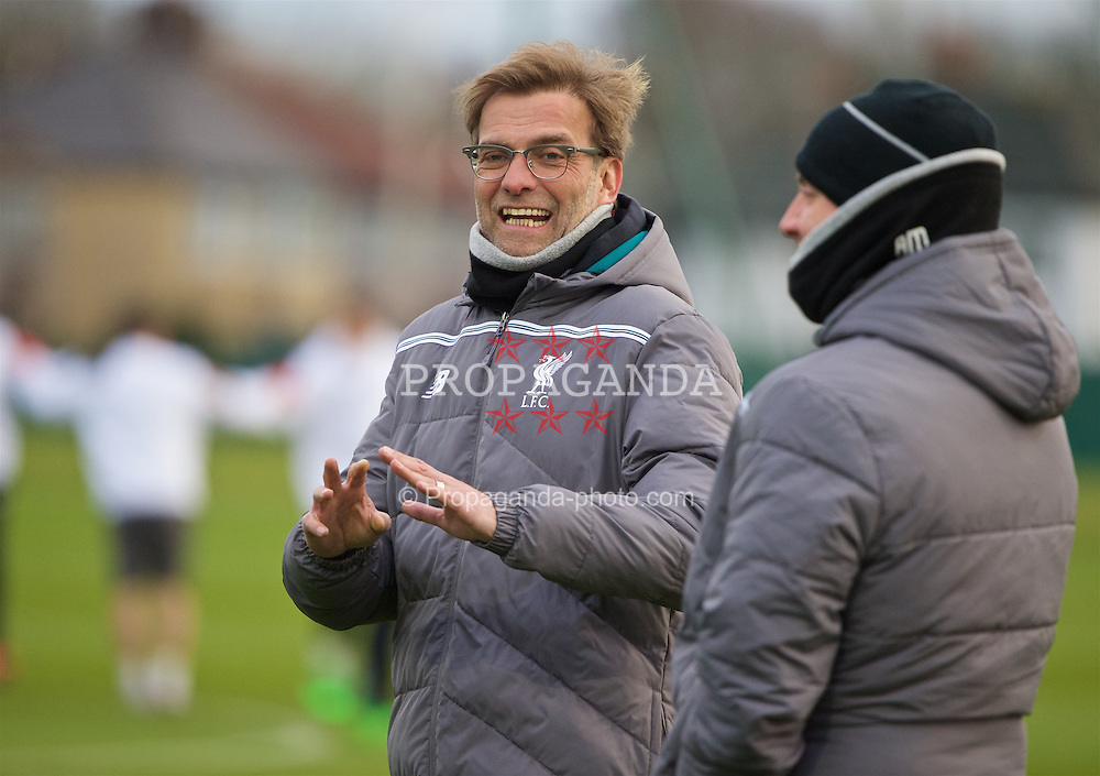 LIVERPOOL, ENGLAND - Wednesday, March 9, 2016: Liverpool's manager Jürgen Klopp during a training session at Melwood Training Ground ahead of the UEFA Europa League Round of 16 1st Leg match against Manchester United FC. (Pic by David Rawcliffe/Propaganda)