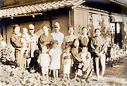 family group posing with father's in military uniform ca 1930s