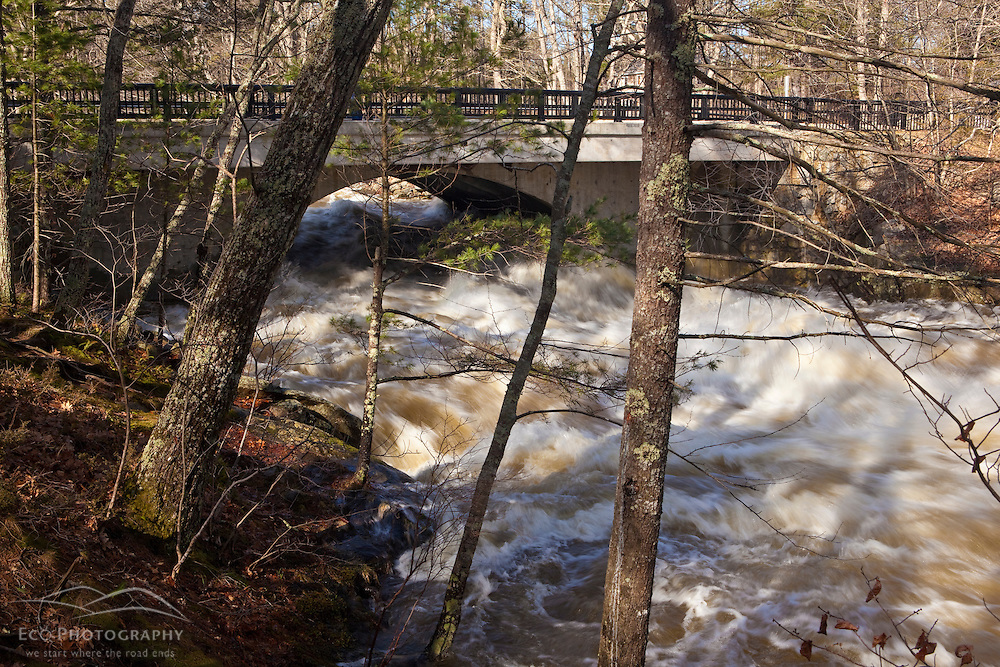 The Lamprey River at Packers Falls in Durham, New Hampshire.  Six feet above flood stage.  Flood of March, 2010.