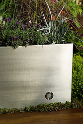 Detail of raised metal bed with inset light. Urban Space/Modern Eden Garden. Design: Kate Gould - Chelsea 2005