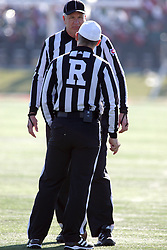17 November 2012:  Umpire Steve Flanagan and Referee Tom Stapleton during an NCAA Missouri Valley Football Conference football game between the North Dakota State Bison and the Illinois State Redbirds at Hancock Stadium in Normal IL