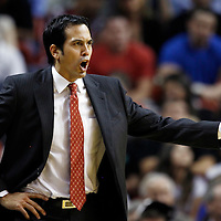 24 January 2012: Miami Heat head coach Erik Spoelstra yells during the Miami Heat 92-85 victory over the Cleveland Cavaliers at the AmericanAirlines Arena, Miami, Florida, USA.