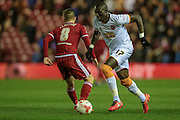 Mohamed Diamé (Hull City) and Adam Clayton (Middlesbrough) the Sky Bet Championship match between Middlesbrough and Hull City at the Riverside Stadium, Middlesbrough, England on 18 March 2016. Photo by Mark P Doherty.