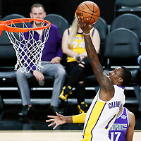 08 October 2017: Los Angeles Lakers guard Kentavious Caldwell-Pope (1) goes for the layup during the LA Lakers 75-69 victory over the Sacramento Kings, at the T-Mobile Arena, Las Vegas, Nevada, USA.
