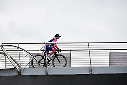 Chiara Consonni (ITA) crosses the footbridge from sign on at Ladies Tour of Norway 2018 Stage 2, a 127.7 km road race from Fredrikstad to Sarpsborg, Norway on August 18, 2018. Photo by Sean Robinson/velofocus.com