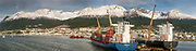 Ushuaia city and port, container ships at wharf, panorama, Tierra del Fuego, Argentina