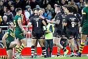 New Zealand's celebrate Jordan Kahu's try during the Ladbrokes Four Nations match between Australia and New Zealand at Anfield, Liverpool, England on 20 November 2016. Photo by Craig Galloway.