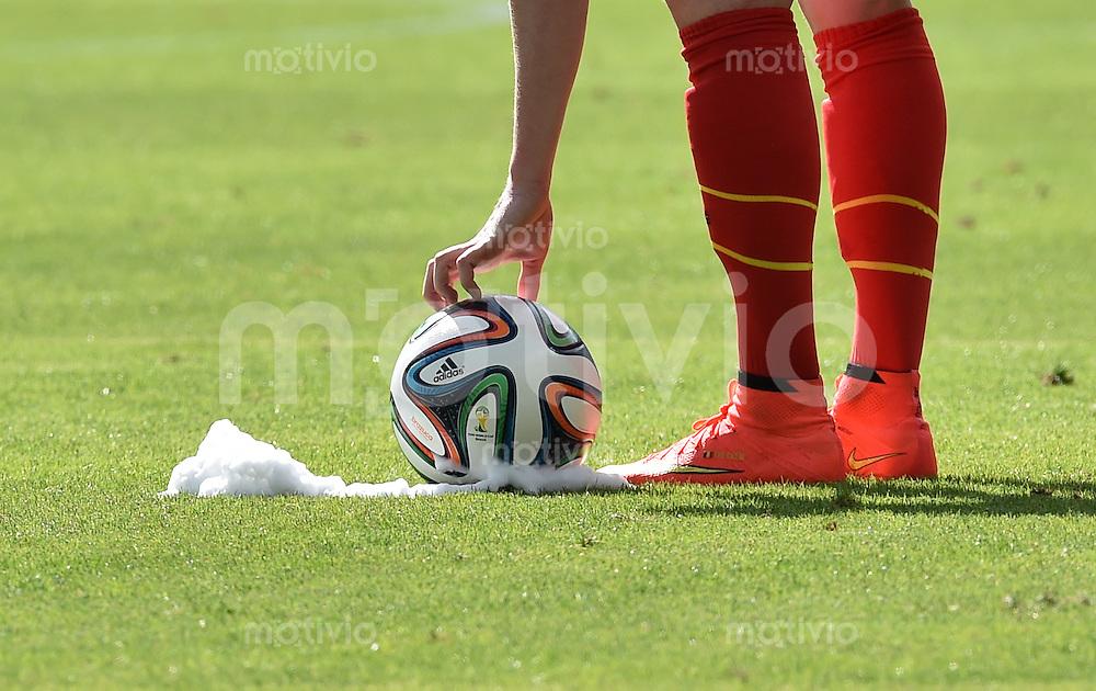 FUSSBALL WM 2014  VORRUNDE    Gruppe H     Belgien - Algerien                       17.06.2014 Rasen, Ball, Schaum = Freistoss