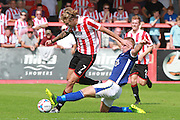 Harry Pell and David Mellor during the Vanarama National League match between Cheltenham Town and Barrow at Whaddon Road, Cheltenham, England on 22 August 2015. Photo by Antony Thompson.