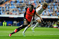 Real Madrid´s Fabio Coentrao and Almeria's Thomas Paty during 2014-15 La Liga match between Real Madrid and Almeria at Santiago Bernabeu stadium in Madrid, Spain. April 29, 2015. (ALTERPHOTOS/Luis Fernandez)