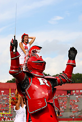 Sept 8, 2012; Piscataway, NJ, USA; The Rutgers Scarlet Knight celebrates a touchdown during the first half at High Point Solutions Stadium.