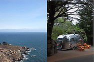 Camp Ground and vintage Airstream trailer along California's Highway One