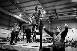 Logan Creed is introduced during Old School Championship Wrestling Sunday, March 13, 2016 at the Hanahan Sports Complex. Paul Zoeller/Staff