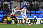 James Rowe and Lee Vaughan during the Vanarama National League match between Tranmere Rovers and Cheltenham Town at Prenton Park, Birkenhead, England on 20 February 2016. Photo by Antony Thompson.