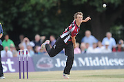 Max Waller bowling during the NatWest T20 Blast South Group match between Middlesex County Cricket Club and Somerset County Cricket Club at Uxbridge Cricket Ground, Uxbridge, United Kingdom on 26 June 2015. Photo by David Vokes.