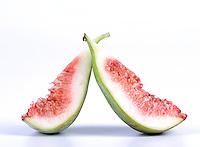 Studio shot of figs on white background