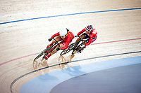 London, England, 12-02-18. Shuang GUO (CHN ) in white helmet  v Wai Sze LEE (HKG)  competes in the Women's Sprint semi-finals at the UCI World Cup, Track Cycling, Olympic Velodrome, London. Part of the London Prepares Olympic preparations. Anna Meares went on to win the gold medal.